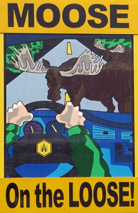 Moose on the loose highway sign campaign