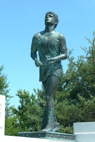 Terry Fox, forever persuing  his dream of conquering cancer